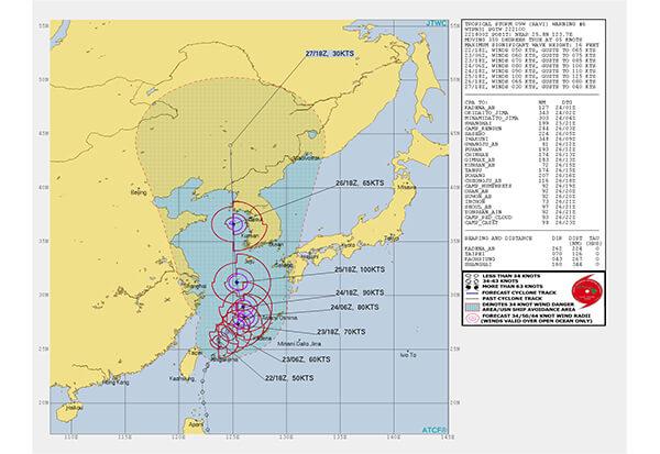 台風8号の米軍現在地8/23時点
